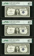 Fr. 1620* $1 1957A Silver Certificate Stars. Three Consecutive Examples. PMG Superb Gem Unc 67 EPQ