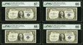 Fr. 1615 $1 1935F Silver Certificates. Four Consecutive Examples. PMG Graded Superb Gem Unc 67 EPQ; Gem Uncirculated 66...