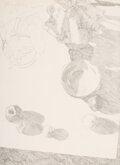 Works on Paper, Dennis Blagg (American, b. 1951). Still-Life and Chair (double-sided). Pencil on paper. 19-1/2 x 14 inches (49.5 x 35.6 ...