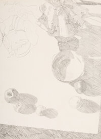 Dennis Blagg (American, b. 1951) Still-Life and Chair (double-sided) Pencil on paper 19-1/2 x 14 inches (49.5 x 35.6