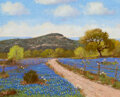 Paintings, Hugo Alberto Herbeck (American, 1923-2009). Comfort, Texas Bluebonnets and Mocking Bird. Oil on canvas...