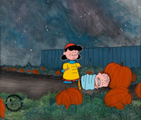 Peanuts It's the Great Pumpkin, Charlie Brown Lucy and Linus Production Cel Setup with Custo
