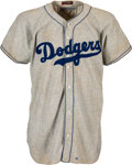 """Baseball Collectibles:Uniforms, 1946 John """"Red"""" Corriden Game Worn Brooklyn Dodgers Jersey with Ralph Branca Pants - Letter of Provenance from Preacher Roe's ..."""