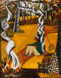 Paintings, David Bates (American, b. 1952). Burning Leaves, 1983. Oil on canvas. 60 x 47-1/2 inches (152.4 x 120.7 cm). Signed lower ri...