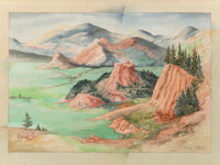 Bror Utter (American, 1913-1993) Colorado Watercolor on paper 21-3/4 x 31-1/8 inches (55.2 x 79.1