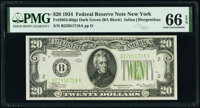 Fr. 2054-B $20 1934 Dark Green Seal Federal Reserve Note. PMG Gem Uncirculated 66 EPQ