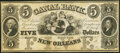 Obsoletes By State:Louisiana, New Orleans, LA- Canal Bank $5 18__ G12a Remainder Crisp Uncirculated.. ...