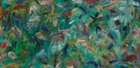 Ben L. Culwell (American, 1918-1992) Untitled (Abstraction) Oil on board 12 x 24 inches (30.5 x 6