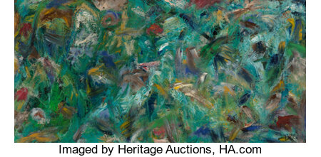 Ben L. Culwell (American, 1918-1992) Untitled (Abstraction) Oil on board 12 x 24 inches (30.5 x 61.0 cm) Initialed l...