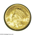 Three Dollar Gold Pieces: , 1854 $3 MS68 PCGS. The Three Dollar gold series of 1854-...