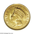 Three Dollar Gold Pieces: , 1856 $3 MS64 PCGS. Even though the Philadelphia Mint ...