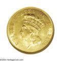 Three Dollar Gold Pieces: , 1856-S $3 MS64 NGC. Breen-6355. Medium S, with a minor ...