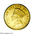 Three Dollar Gold Pieces: , 1871 $3 MS64 PCGS. A rare Three Dollar issue with the ...