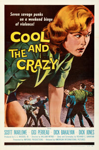 """Cool and the Crazy (American International, 1958). Flat Folded, Very Fine+. One Sheet (27"""" X 41""""). ... (Total:..."""