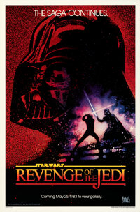 """Revenge of the Jedi (20th Century Fox, 1982). Rolled, Very Fine+. One Sheet (27"""" X 41"""") Advance Dated Style, D..."""