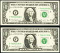Fr. 1917-F $1 1988A Web Federal Reserve Notes. Two Examples. Choice Crisp Uncirculated or Better block F-N, run 12, p
