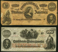 Confederate Notes:1862 Issues, T41 $100 1862 PF-60 Cr. UNL Fine-Very Fine;. T65 $100 1864 PF-1 Cr. 490 Very Good-Fine.. ... (Total: 2 notes)