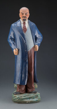 A Monumental Chinese Earthenware Vladimir Lenin Statue, 20th century Marks: Five-character mark 25-3/4 x 10-1