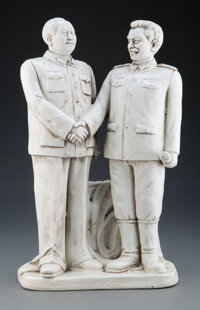 A Chinese Earthenware Chairman Mao and Joseph Stalin Figure, 20th century Marks: Two-character mark 18-3/4 x