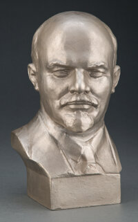 A Russian Cast Aluminum Bust of Vladimir Lenin, 20th century Marks: Impressed stamp to verso 10-1/4 x 5-3/4 x 5 inches (...