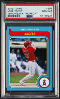 Baseball Cards:Singles (1970-Now), 2019 Topps Mike Trout (Throwback Thursday) #296 PSA Gem Mint 10. ...
