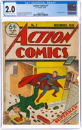Golden Age (1938-1955):Superhero, Action Comics #7 (DC, 1938) CGC GD 2.0 Cream to off-white pages....