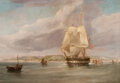 Paintings, William John Huggins (British, 1781-1845). The Viscount Melbourne off Folkestone, 1840. Oil on canvas. 33 x 47 inches (8...