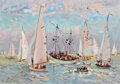 Paintings, André Hambourg (French, 1909-1999). Vers la large (Deauville). Oil on canvas. 15-1/2 x 21-3/4 inches (39.4 x 55.2 cm). S...