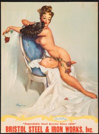 """Pin-Up Calendars by Gil Elvgren (1950s). Rolled, Fine. Trimmed Pin-Up Calendar Posters (4) (22"""" X 30"""", 22""""..."""