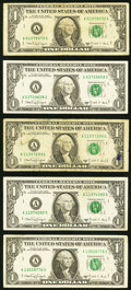 Small Size:Federal Reserve Notes, A-G Block Fr. 1917-A $1 1988A Web Federal Reserve Notes.. Run 1 Plate Combo 4-6; 8-8;. Run 2 Plate Combo 5-8; 8-8;. ... (Total: 5 notes)