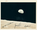 """Explorers:Space Exploration, Apollo 8: """"Earthrise"""" Original NASA """"Red Number"""" Color Photo, AS8-14-2383, with Autopen Crew Signatures...."""