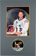 Explorers:Space Exploration, Neil Armstrong Signed, Uninscribed White Spacesuit Color Photo with an Embroidered Mission Insignia Patch, in Matted Display....
