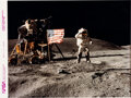 """Explorers:Space Exploration, John Young Signed Apollo 16 Lunar Surface """"Leaping"""" Flag Salute Official NASA Modern Red Number Color Photo...."""