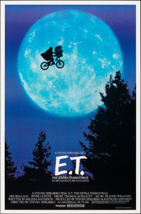 "E.T. The Extra-Terrestrial (Universal, 1982). Rolled, Very Fine/Near Mint. One Sheet (26.75"" X 40.5"") Bicycle..."