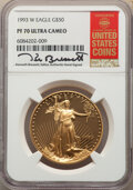 Modern Bullion Coins, 1993-W $50 One-Ounce Gold Eagle PR70 Ultra Cameo NGC. The NGC insert is hand-signed by longtime Guide Book editor Kenneth B...