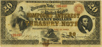 Fr. 191a $20 Act of June 30, 1864 Three-Year 6% Compound Interest Treasury Note. Hessler X140B. PMG Very Fine 20
