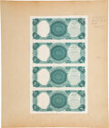 Columbian Bank Note Company Archival Proofs Page - Uncut Sheet of Four Back Proofs Fr. 65-73 Hessler 246A $5-$5-$5-$5 18...