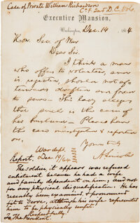 Abraham Lincoln Autograph Letter Signed Regarding an Investigation into the War Department
