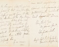 Autographs:Military Figures, Winfield Scott: War-Date Autograph Letter Signed [ALS] to General Henry Halleck.. ...