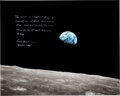 """Explorers:Space Exploration, Frank Borman Signed Large Apollo 8 """"Earthrise"""" Color Photo, with Novaspace Certificate of Authenticity...."""