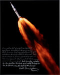 Explorers:Space Exploration, Walt Cunningham Signed Large Apollo 7 Launch Color Photo with Extensive Personal Commentary about His Admiration for Wernher v...