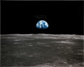 """Explorers:Space Exploration, Michael Collins Signed Large Apollo 11 """"Earthrise"""" Color Photo, with Novaspace Certificate of Authenticity...."""