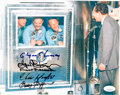 Explorers:Space Exploration, Apollo 11 Crew in Mobile Quarantine Facility Speaking with President Nixon Color Photo Signed by Four NASA Flight Directors, w...