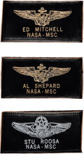 """Explorers:Space Exploration, [Apollo 14] Crew Owned and Worn Original Apollo-Era Leather Flight Suit Name Tags with Astronaut Wings, """"AL SHEPARD/ NASA-MSC""""..."""