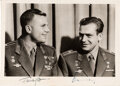 Explorers:Space Exploration, Yuri Gagarin and Gherman Titov, the First Two Soviet Cosmonauts to Fly, Signed Photo in Military Uniforms....