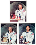 Explorers:Space Exploration, Apollo 11: Three Individually Signed & Inscribed White Spacesuit Color Photos, with Individual LOAs from both Steve Zarelli an...