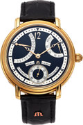 Timepieces:Wristwatch, Maurice Lacroix, Masterpiece Collection Calendrier Retrograde, 18k Gold, MP 6368. ...