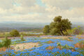 Paintings, Porfirio Salinas (American, 1910-1973). Bluebonnet Beauty. Oil on canvas. 24 x 36 inches (61.0 x 91....