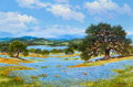 Paintings, William A. Slaughter (American, 1923-2003). Rolling Hills of Blue. Oil on canvas. 24 x 36 inches (61...