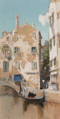Works on Paper, Francis Hopkinson Smith (American, 1838-1915). Canal scene, Venice. Watercolor and gouache over pencil on paper. 18-1/2 ...